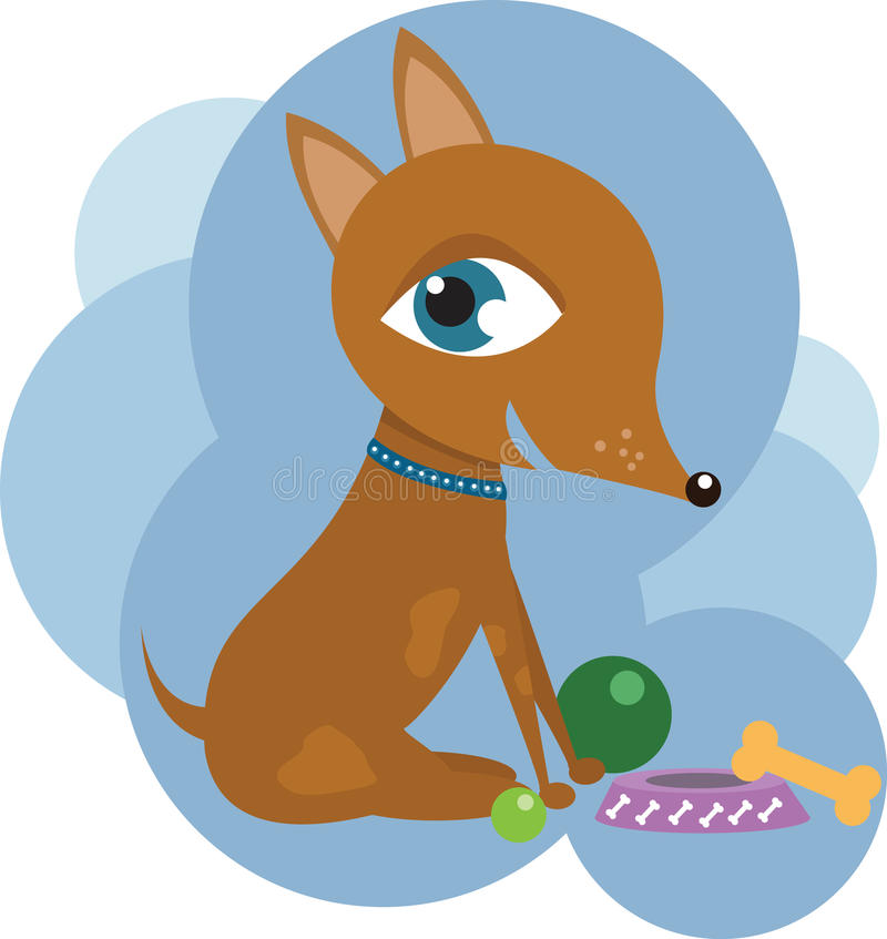 Dog with toys. Terrier puppy with bone, balls and a bawl royalty free illustration