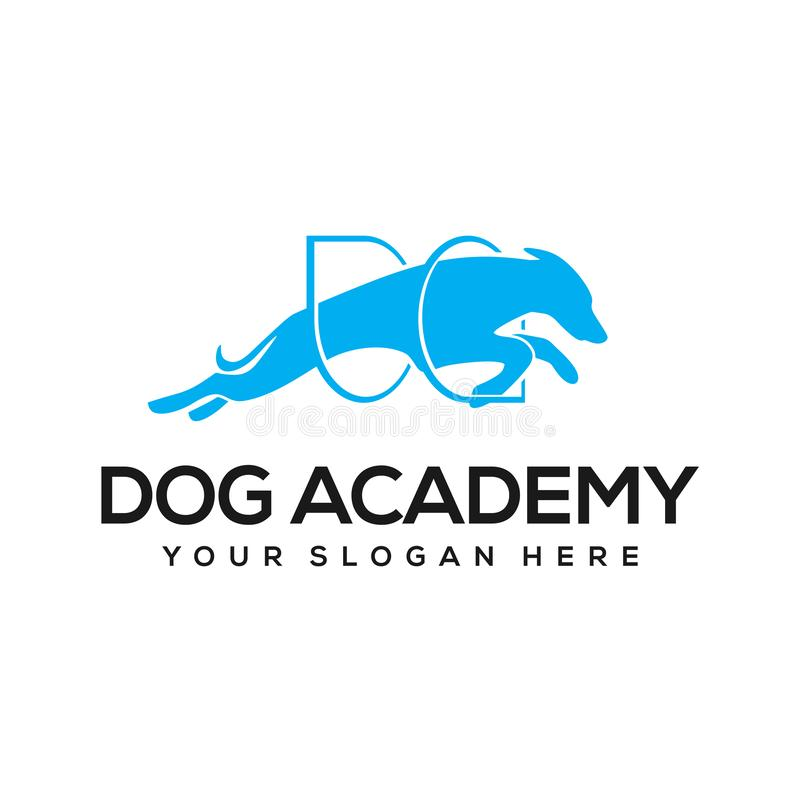 Dog academy logo design inspiration. Dog training is the application of behavior analysis which uses the environmental events of antecedents and consequences to vector illustration