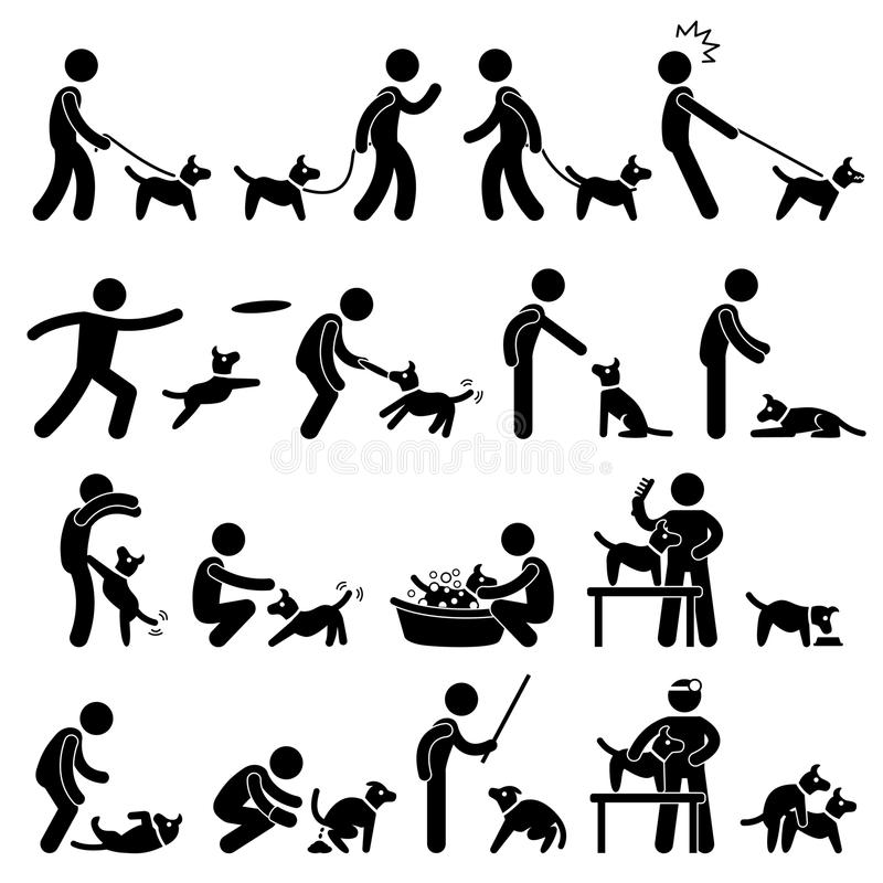 Dog Training Pictogram stock illustration