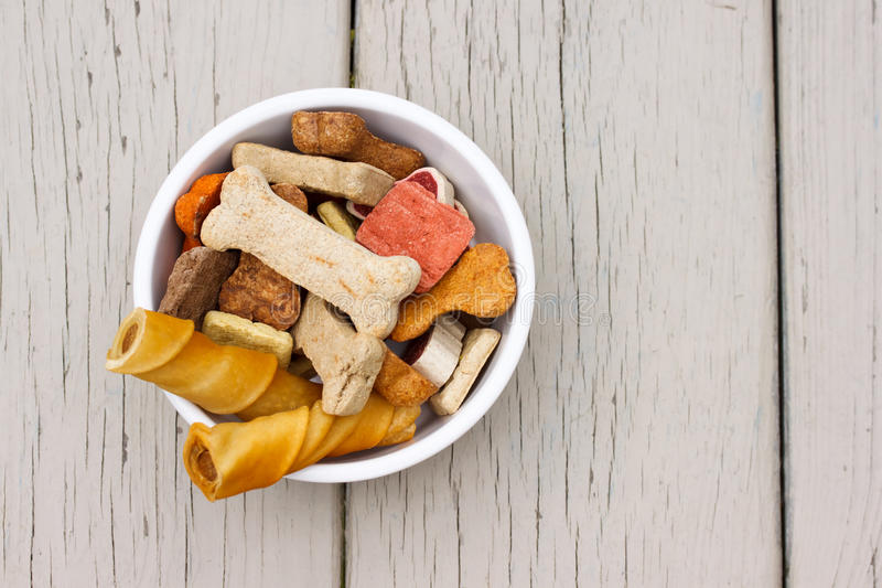 Dog treats in white bowl. Assortment of dog treats in white bowl stock image