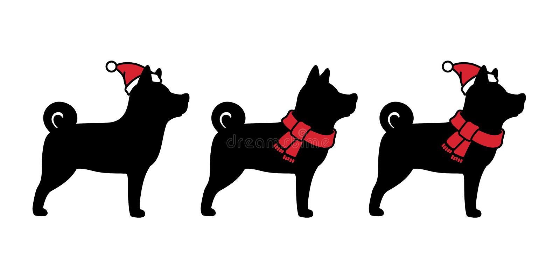 Dog vector Christmas Santa Claus icon character cartoon Xmas hat scarf logo french bulldog illustration black. Cute royalty free illustration