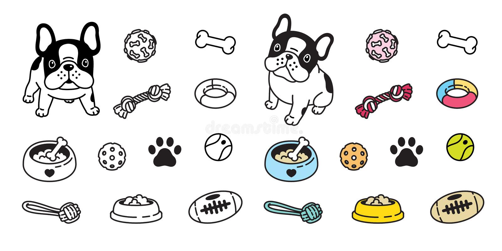 Dog vector french bulldog icon paw bone food bowl ball toy footprint cartoon character illustration doodle vector illustration
