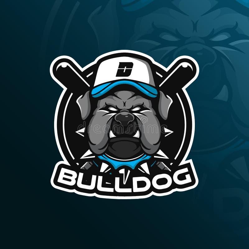 Dog vector mascot logo design with modern illustration concept style for badge, emblem and tshirt printing. bulldog illustration vector illustration