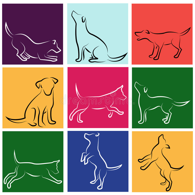 Download Dog vector set stock vector. Image of beauty, background - 16219076