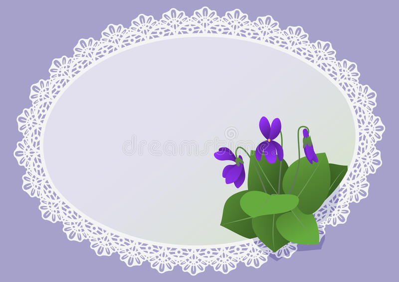 Dog-violets Invitation Card Royalty Free Stock Photo