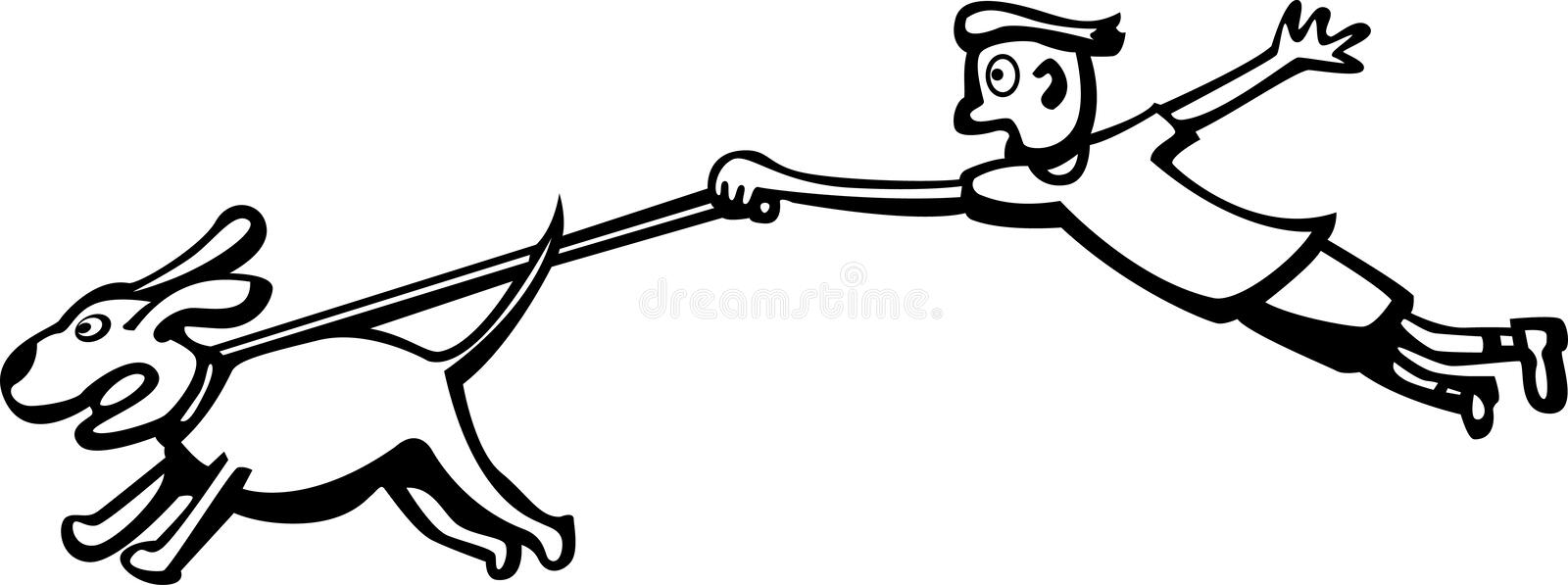 Dog walk. Black and white illustration of a male young person taking out a big dog for a walk stock illustration