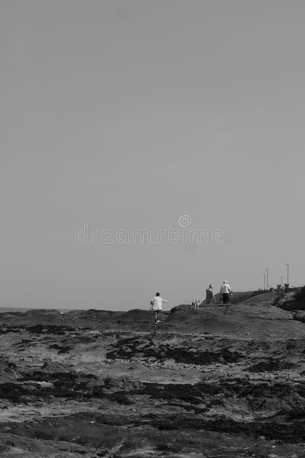 Dog walkers on the rocks royalty free stock photography