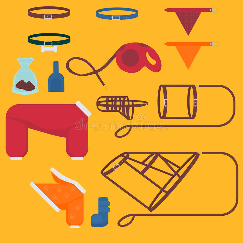 Dog walking elements. Flat isolated set, pet walk items. Doggy fashion clothes icons suits, collar, leash, muzzle, harness and rou. Lette stock illustration
