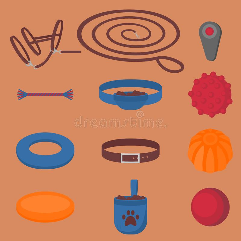 Dog walking elements. Flat isolated set, pet walk items. Doggy training icons collar, leash and headstall. Play objects ball, like. R, puller and frisbee, treat vector illustration