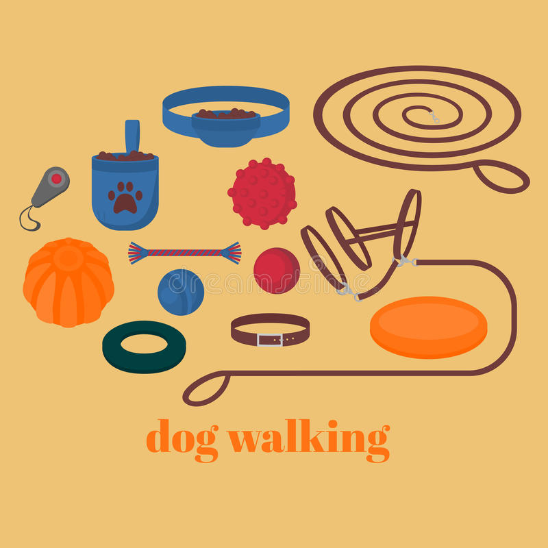 Dog walking elements. Flat isolated set, pet walk items. Doggy training icons collar, leash and headstall. Play objects ball, like. R, puller and frisbee, treat royalty free illustration
