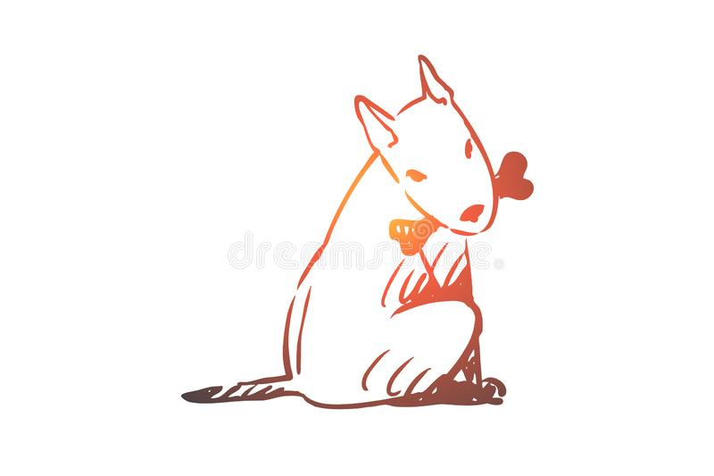 Dog, walking, outdoor, pet, domestic concept. Hand drawn isolated vector. Dog, walking, outdoor, pet, domestic concept. Hand drawn home dog walking concept royalty free illustration