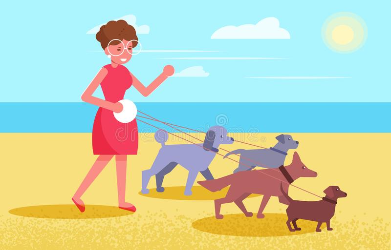 Dog walking services Woman walks with four dogs royalty free illustration