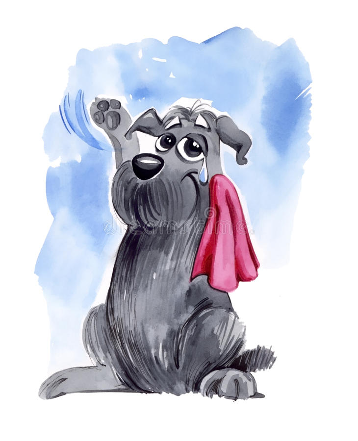Dog waving hello on farewell royalty free illustration