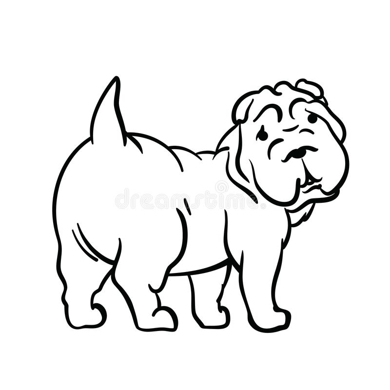 Dog drawn in ink style stock photography
