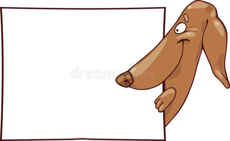 Dog with white card stock illustration