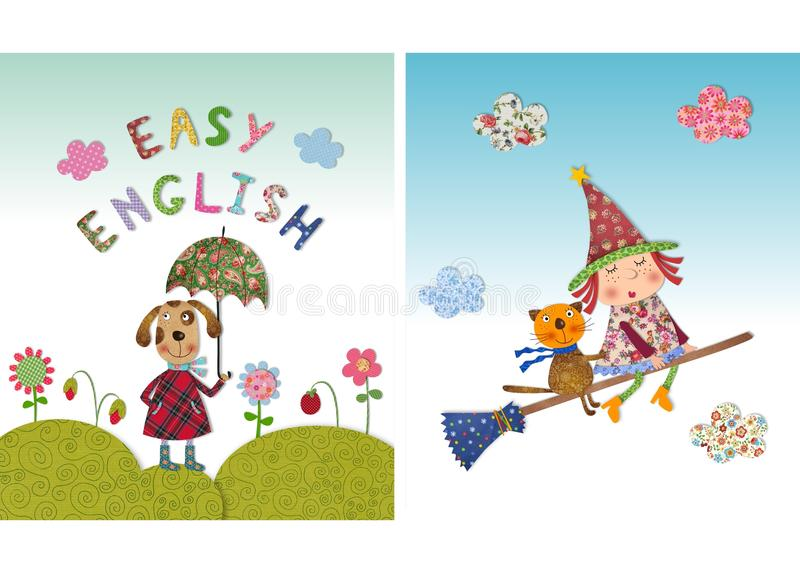 Dog, witch and cat. Colorful graphic illustration. Quilt design stock illustration