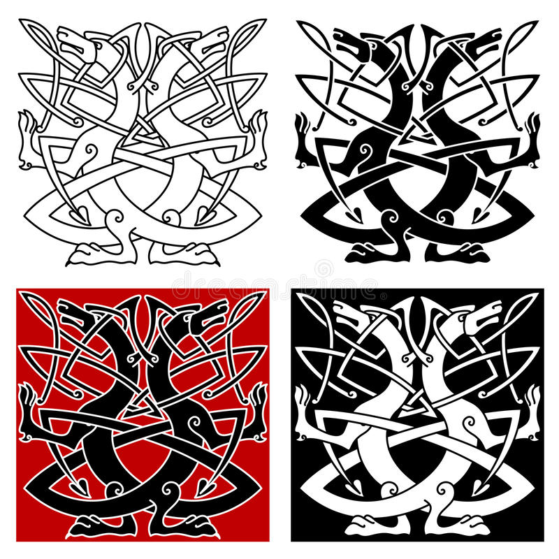 Dog Or Wolf Celtic Pattern Stock Vector Illustration Of Knot 58730605