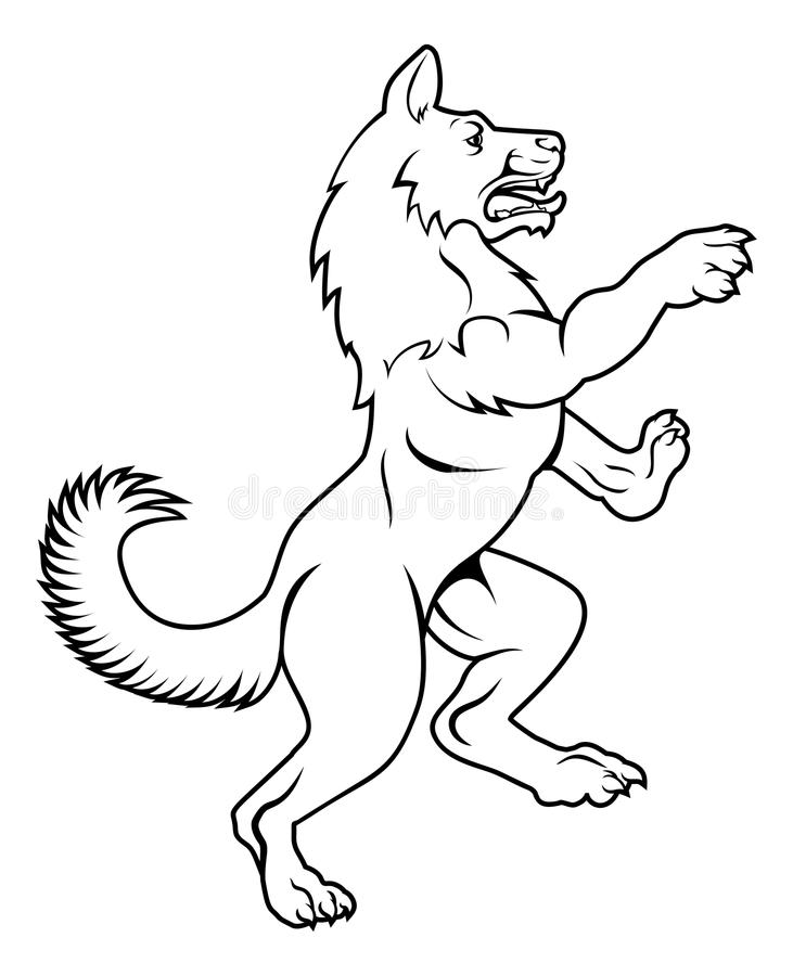 Dog or Wolf in Heraldic Rampant Coat of Arms Pose. A pet dog or wolf animal standing on hind legs in a heraldic rampant coat of arms pose stock illustration