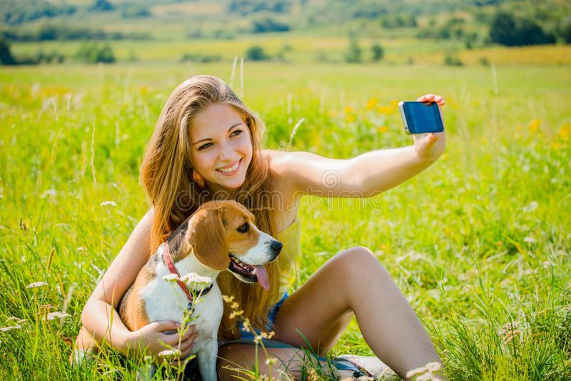 Dog and woman - happy life royalty free stock images