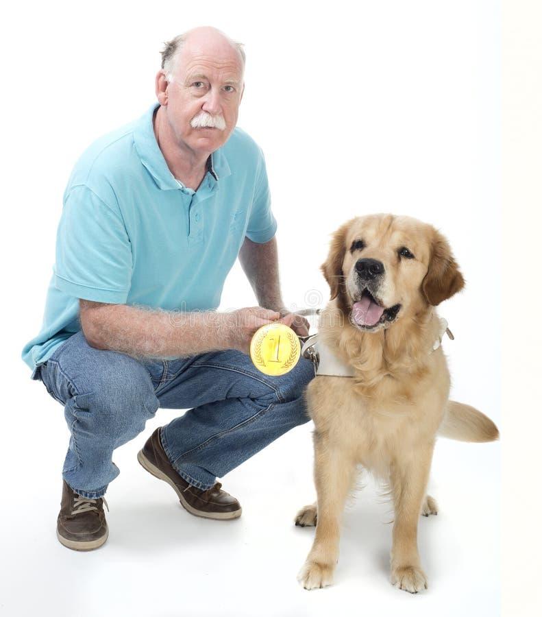 Dog Won A Golden Medal Stock Photo