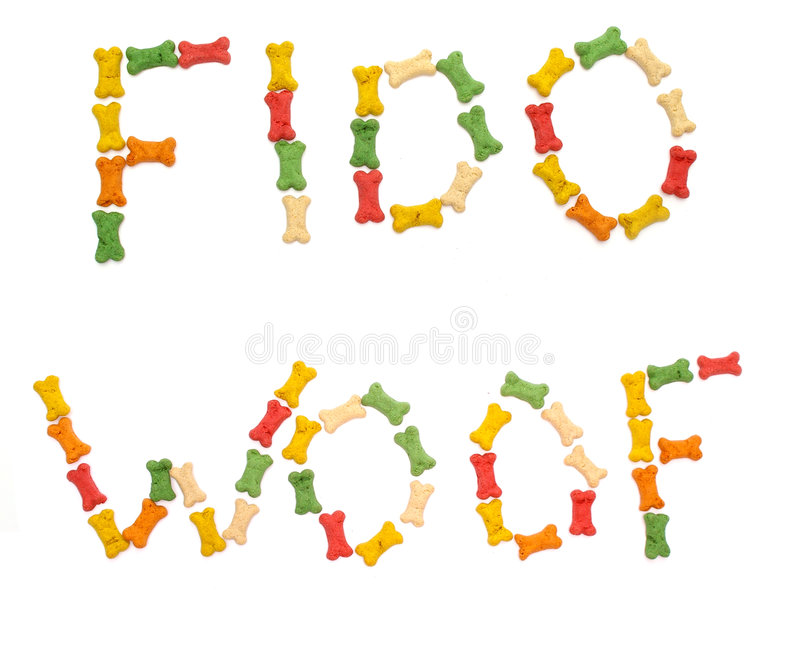 Dog Words. Spelled with dog bone treats. Use together or separately, isolated on white royalty free stock images