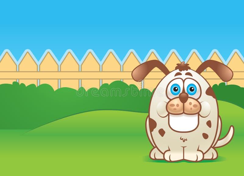 Dog in a Yard. A fat dog in a fenced in backyard