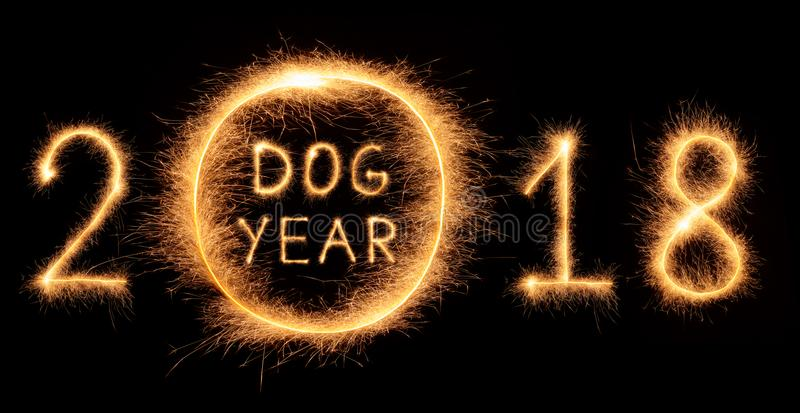 Download 2018 DOG YEAR Lettering Drawn With Bengali Sparkles Stock Photo - Image of flash, curve: 106114504