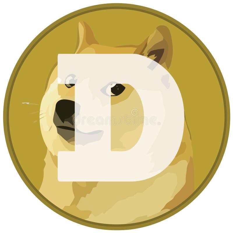 DOGE Dogecoin εικονίδιο cryptocurrency στη σημαία ελεύθερη απεικόνιση δικαιώματος