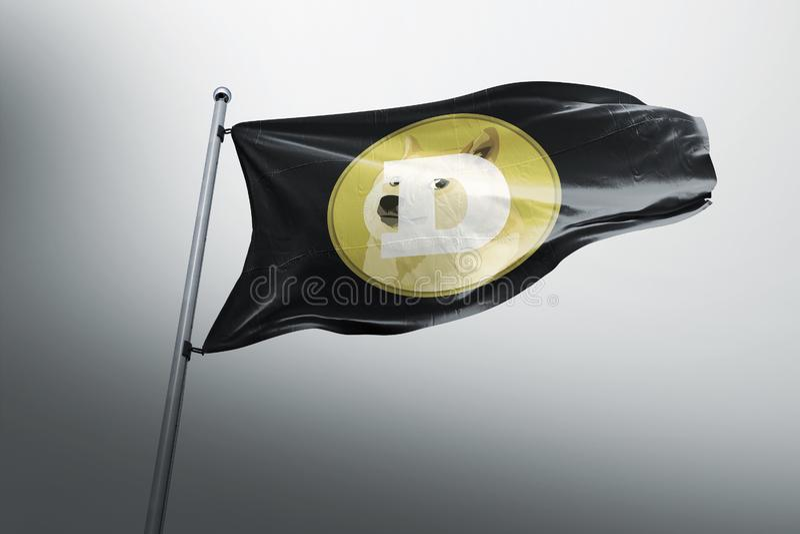 DOGE Dogecoin crypto σημαιών εικονιδίων λογότυπων διανυσματική απεικόνιση