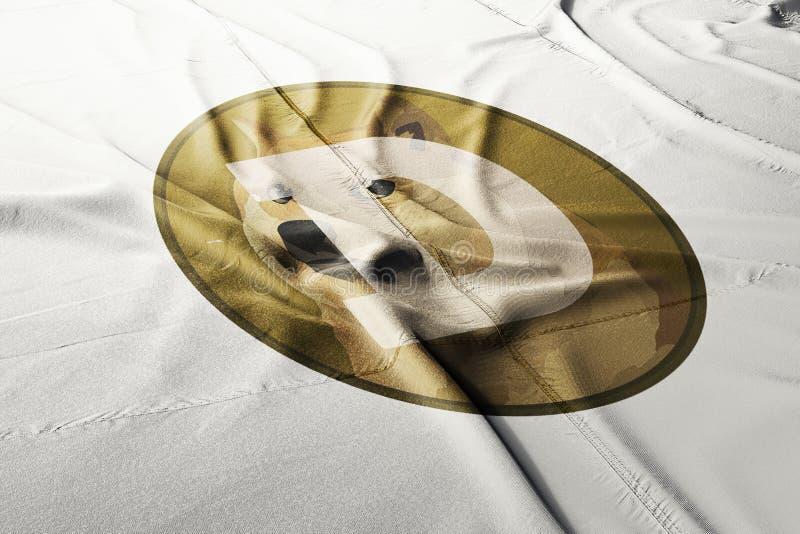 DOGE Dogecoin crypto σημαιών εικονιδίων λογότυπων απεικόνιση αποθεμάτων