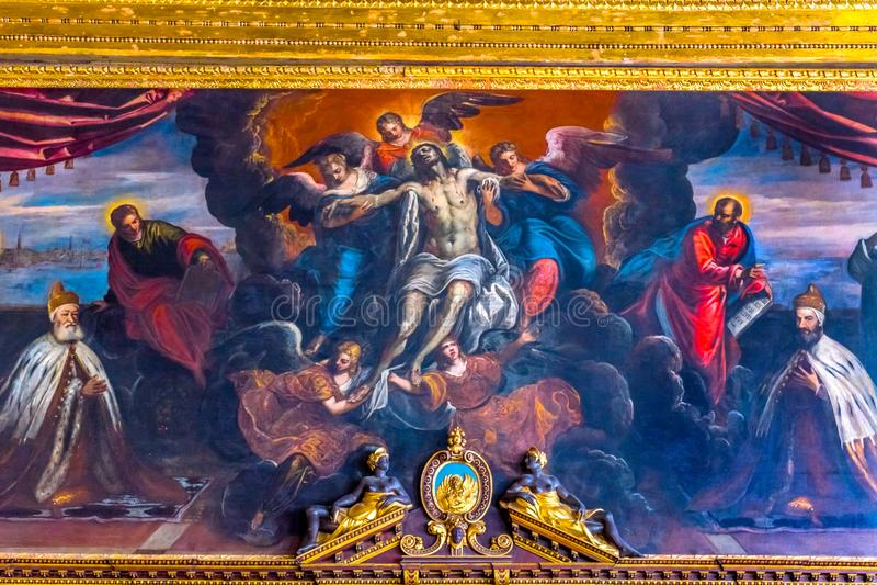Doge Jesus Angels Painting Palazzo Ducale Doge& x27; s-slott Venedig I royaltyfria foton