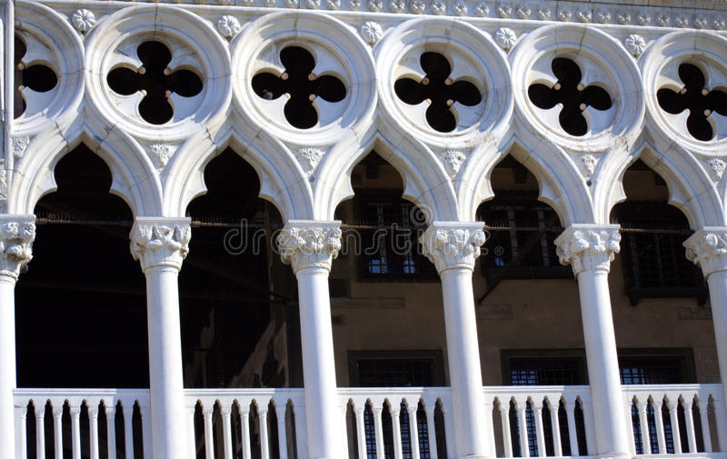 Doge`s Palace loggia Venice Italy. The Doge`s Palace- Palazzo Ducale is a palace built in Venetian Gothic style, and one of the main landmarks of the city of royalty free stock photography