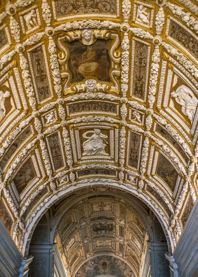 Doge`s Palace, the Golden Staircase. Italy, Venice. Doge`s Palace, the Golden Staircase, a continuation of the Stairs of the Giants, architect Jacopo Sansovino stock photography