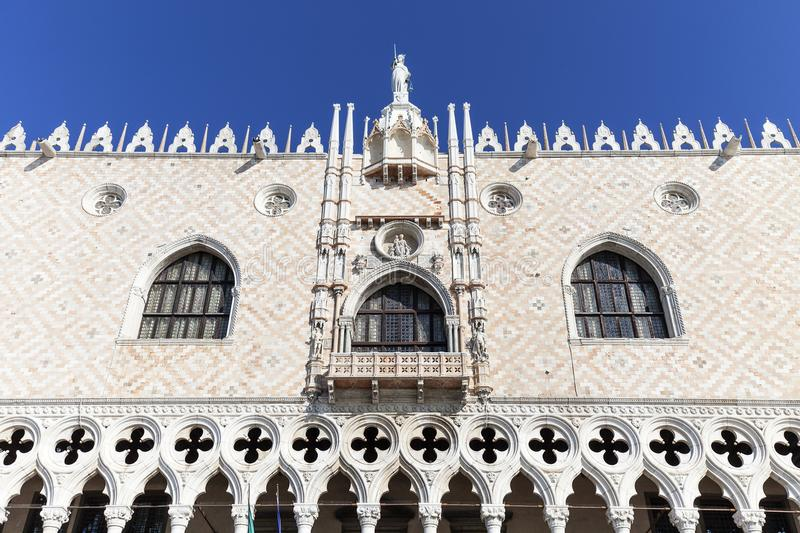 Doge`s Palace Palazzo Ducale on Piazza San Marco, facade, Venice, Italy. The palace was the residence of the Doge of Venice, the museum is currently located stock photos