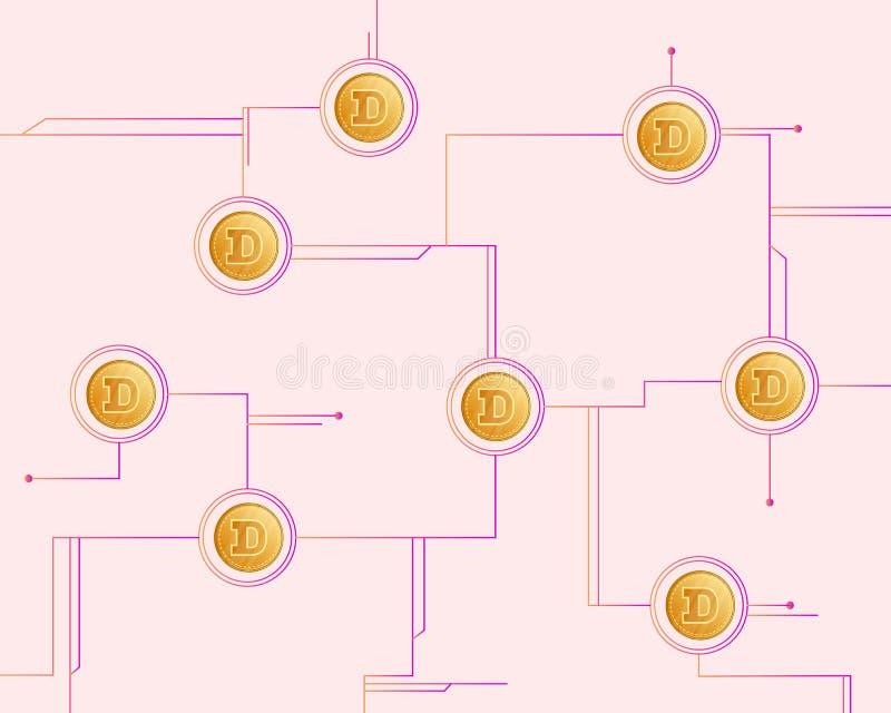 Dogecoin Blockchain Technology Style Background Stock Vector