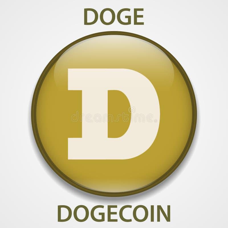 Dogecoin cryptocurrency blockchain icon. Virtual electronic, internet money or cryptocoin symbol, logo.  vector illustration