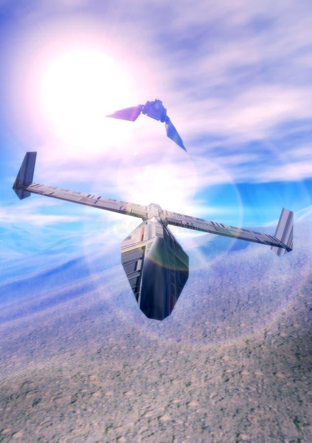 dogfight statek kosmiczny ilustracja wektor