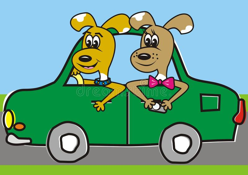 Doggs in the car stock illustration