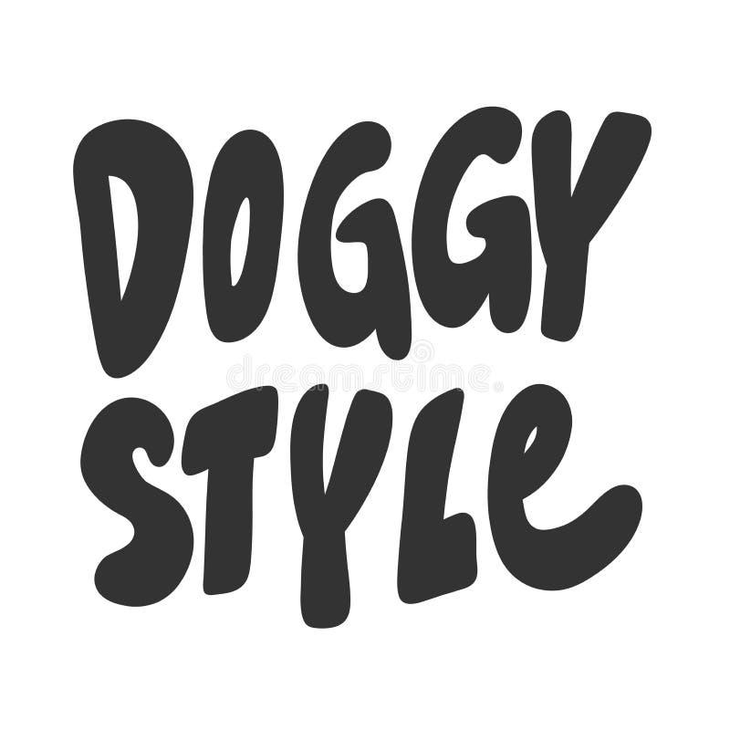 Doggy Étiquette d'illustration tirée à la main avec lettrage de dessin animé Bon comme un autocollant, couverture de vidéo blog,  illustration libre de droits