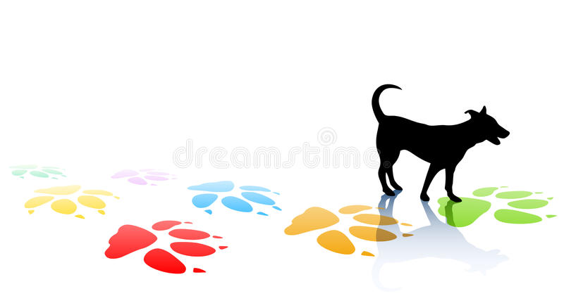 Doggy. Editable illustration of a young dog silhouette and colorful paw prints with space for text