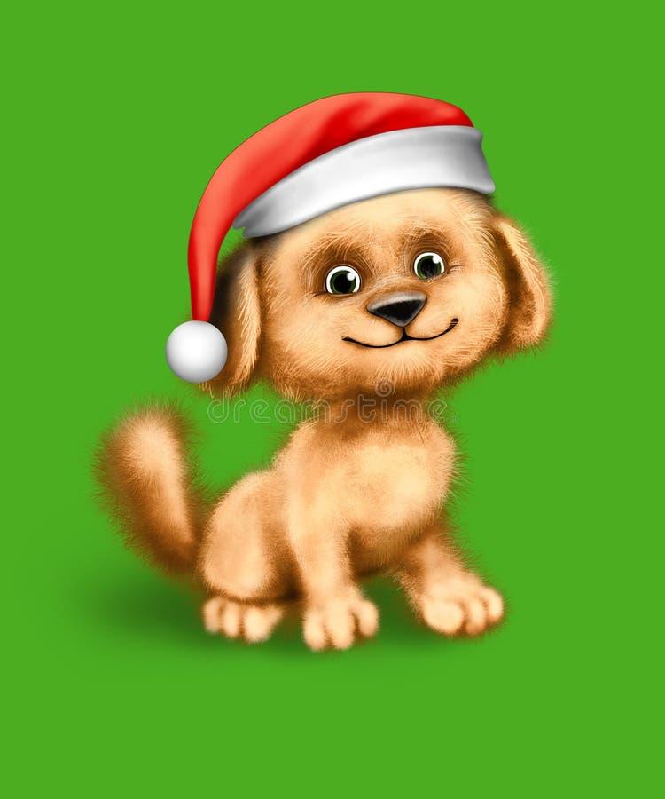 Doggy de Santa ilustração stock