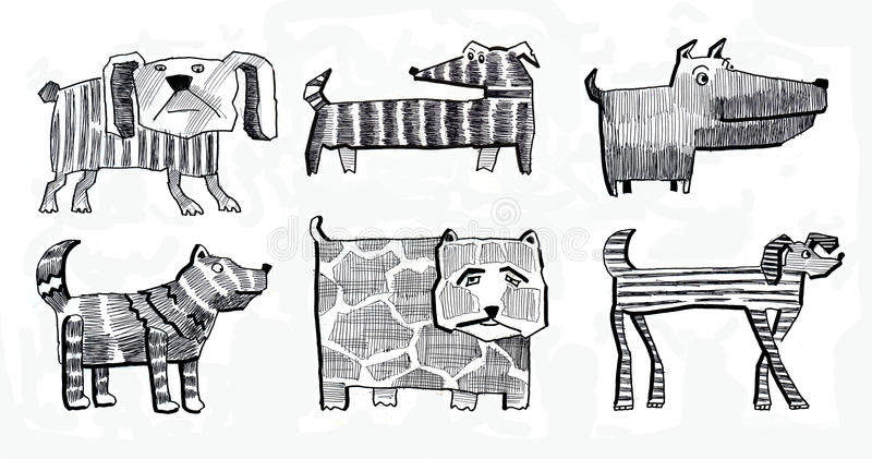 Doggy e cão e adorável e animal e b ilustração do vetor