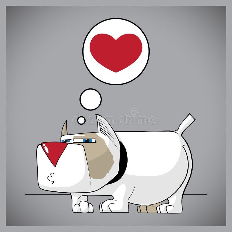 Doggy engraçado com coração. ilustração do vetor