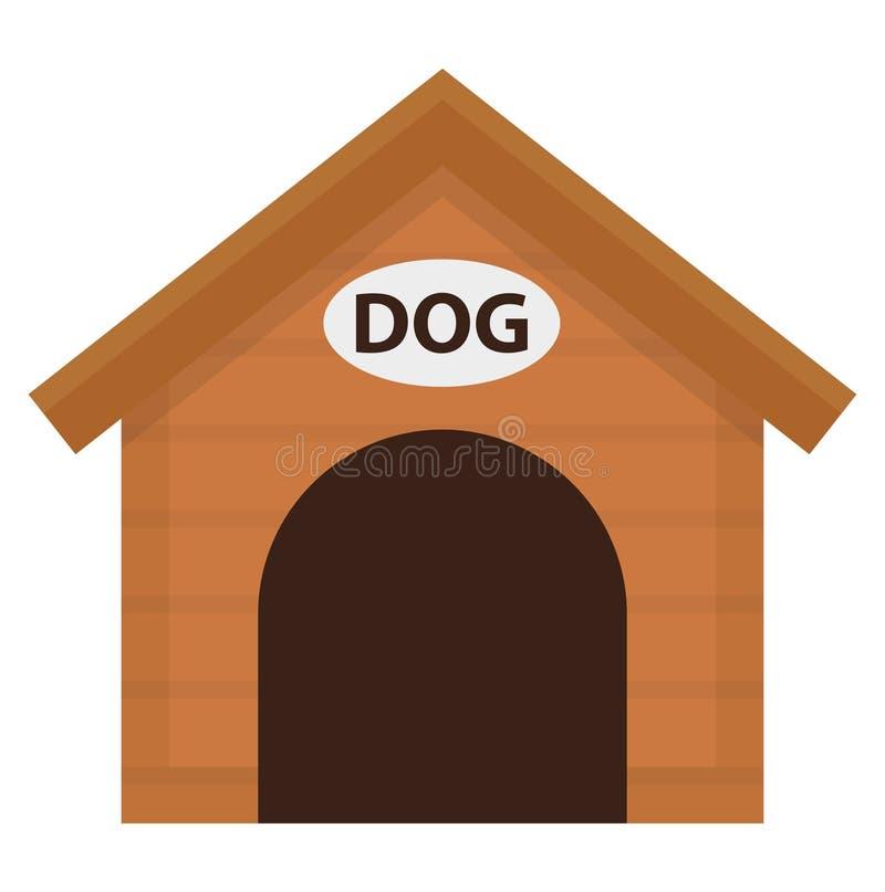 Doghouse ikona, mieszkanie, kreskówka styl Drewniany dom odizolowywający na białym tle Wektorowa ilustracja, sztuka ilustracji