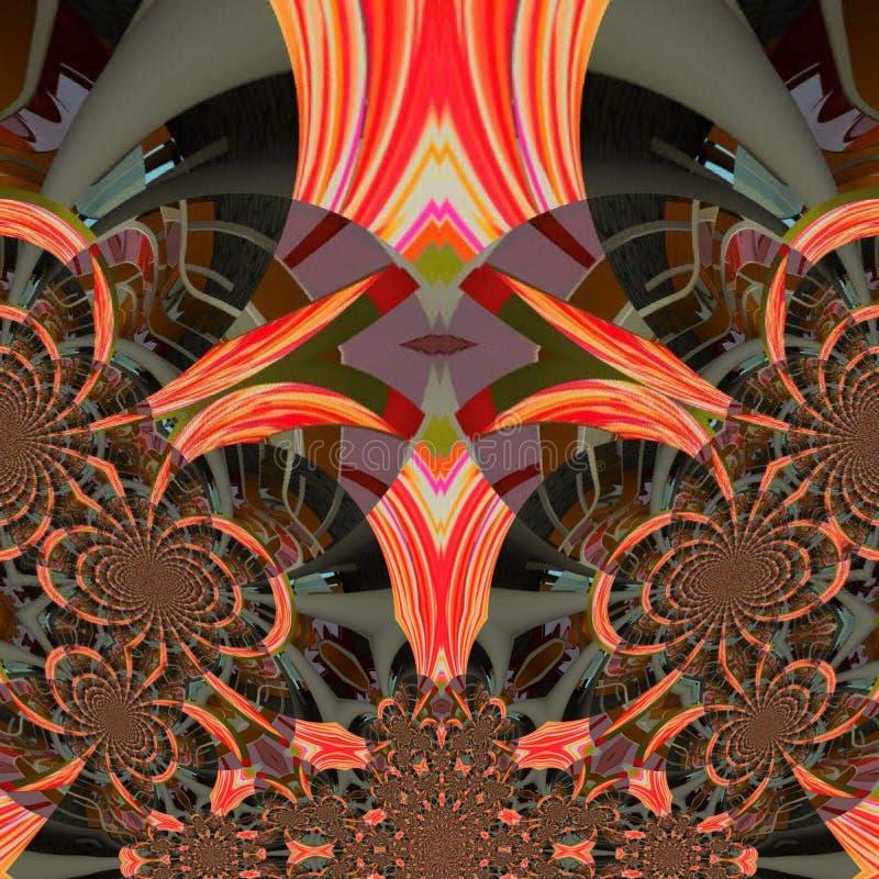 Dogital Kunstroboterhintergrund mit orange Farben stock abbildung