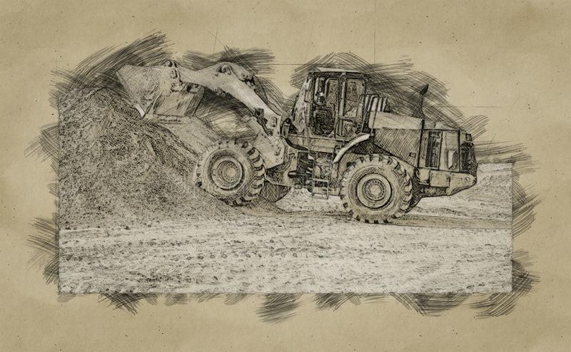 Dogital sketch of backhoe loader or bulldozer - excavator work on construction site or sand pit. Scoop, industry, wheel, equipment, machine, isolated, shovel royalty free stock photography