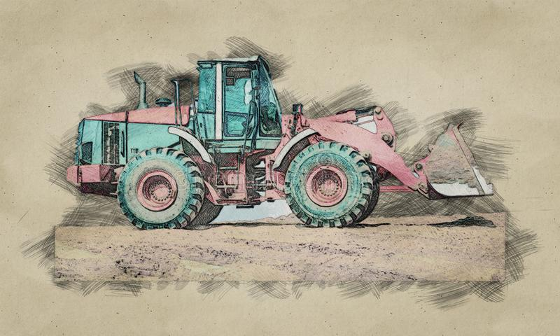 Dogital sketch of backhoe loader or bulldozer - excavator work on construction site or sand pit. Scoop, industry, wheel, equipment, machine, isolated, shovel royalty free stock image