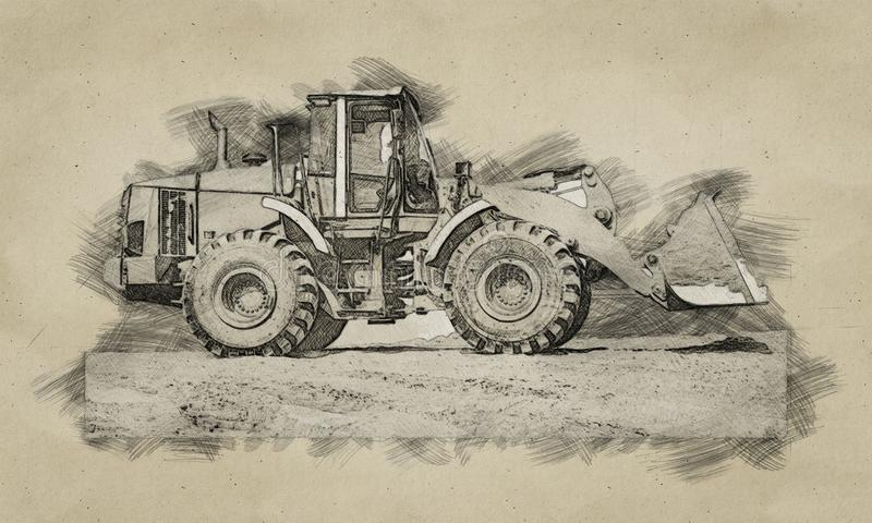 Dogital sketch of backhoe loader or bulldozer - excavator work on construction site or sand pit. Scoop, industry, wheel, equipment, machine, isolated, shovel stock photos
