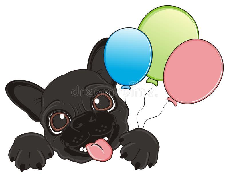 Dogo con los globos stock de ilustración