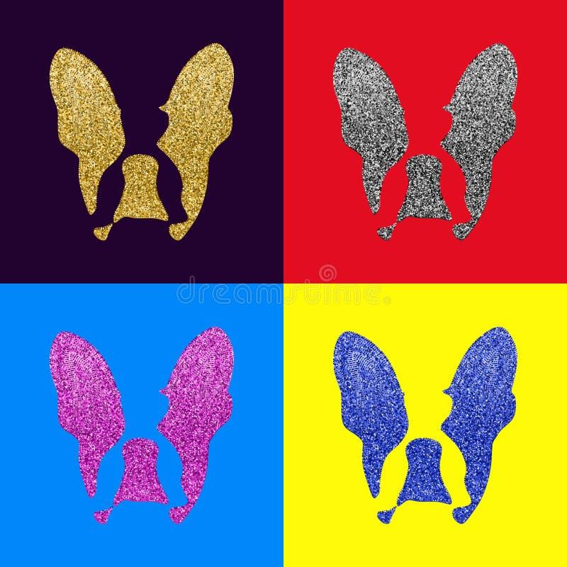 Dogo francés con el ejemplo del vector del brillo libre illustration